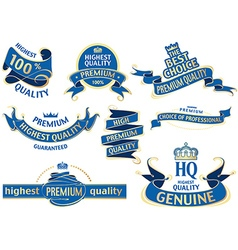 Blue Banner Ribbon Set vector image