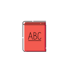 book with abc letters icon for language school vector image