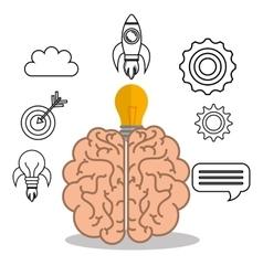 Brain student school set elements design vector
