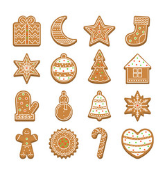 cartoon christmas cookies icon set vector image