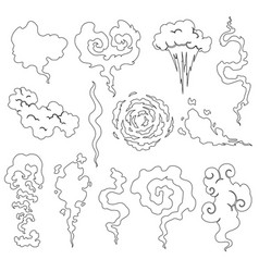 Cartoon smoke and dust clouds comic puff vector