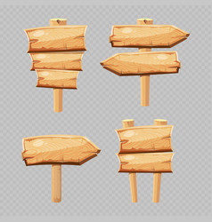 cartoon wooden blanks isolated on vector image