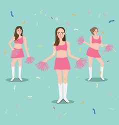 cheer leader girl with pompoms sport beautiful vector image