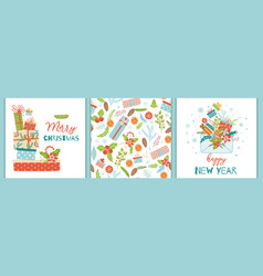 christmas new year set banner cards background vector image