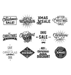 christmas sale lettering and xmas calligraphy set vector image