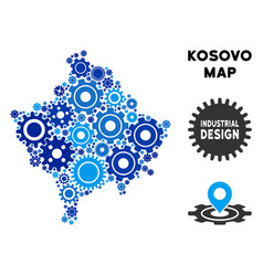 Collage kosovo map of gears vector