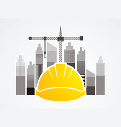 construction building helmetruction with crane vector image