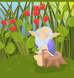 Cute cartoon old bearded troll sitting on a stump vector