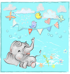 Cute elephant with balloon hand drawn vector