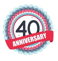 Cute Template 40 Years Anniversary with Balloons vector image
