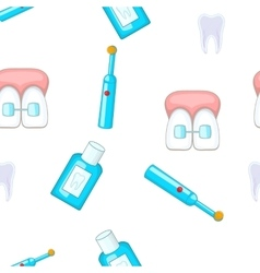 Dental treatment pattern cartoon style vector
