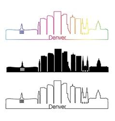 Denver skyline linear style with rainbow vector
