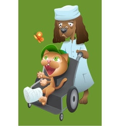 Dog veterinarian carries a cat in a wheelchair vector image