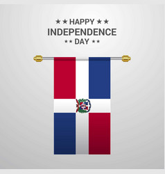 Dominican republic independence day hanging flag vector