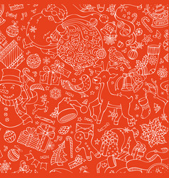 Doodles merry christmas seamless pattern vector