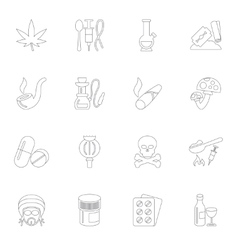 Drugs icons outline vector