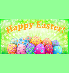 Easter background with egg and ray vector