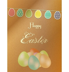 Easter background with eggs on brownpaper vector image