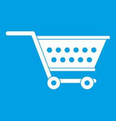 Empty supermarket cart icon white vector