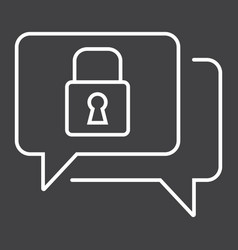Encrypted messaging line icon security vector