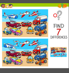 Find differences game with transport vehicles vector