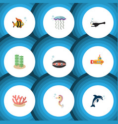 Flat icon sea set of scallop fish periscope and vector