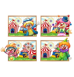 Four photo frame of clowns at the circus vector