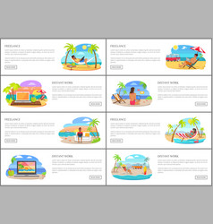 Freelance and distant work internet banners set vector