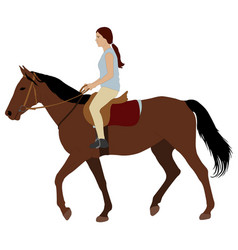 Girl riding a horse vector