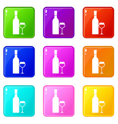 Glass and bottle of wine set 9 vector