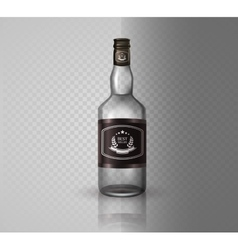 Glass brandy bottle with screw cap isolated o vector