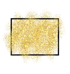 Gold glitter sand in black frame isolated white vector