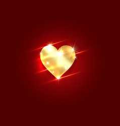 Gold shiny heart icon isolated golden heart on red vector