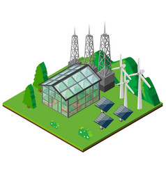 green house and wind turbines in the field vector image