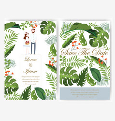 Greenery leaves wedding card and tag vector