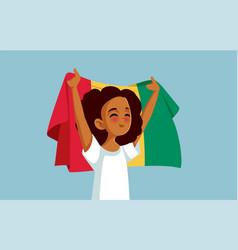 Guinean girl holding national flag cartoon vector