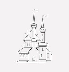 halloween castle icon line element vector image