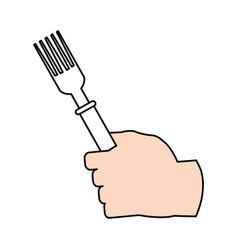 hand and fork design vector image