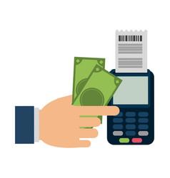 Hand using credit card reader vector