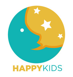 Happy kids promotional emblem with moon and stars vector