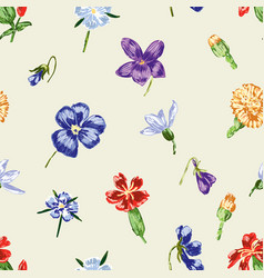Inflorescences of the drawn flowers vector
