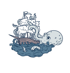 kraken attacking sailing galleon doodle art color vector image