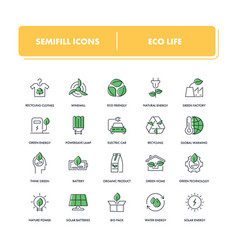 line icons set eco life vector image