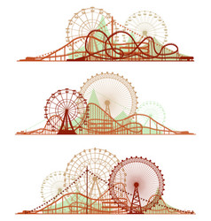 Lines of roller-coaster and ferris wheel vector