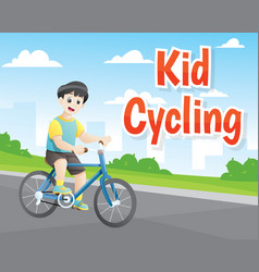 little boy cycling vector image