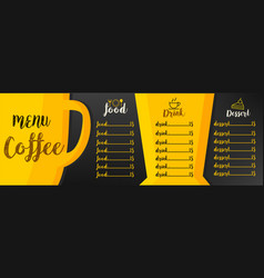 Menu coffee vector