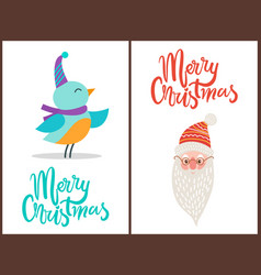 merry christmas bird and claus vector image