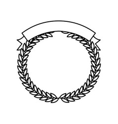 Monochrome olive branches forming a circle with vector
