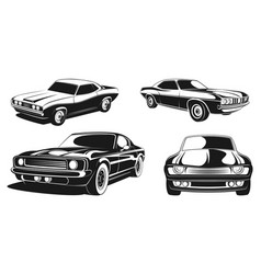 Monochrome set retro muscle cars vector