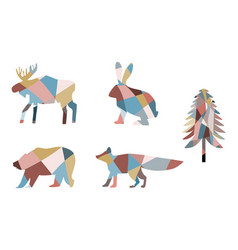 Mosaic siluettes forest animals and fir vector